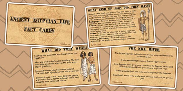 Ancient Egyptian Life Display Fact Cards - egypt, ancient egypt - twinkl