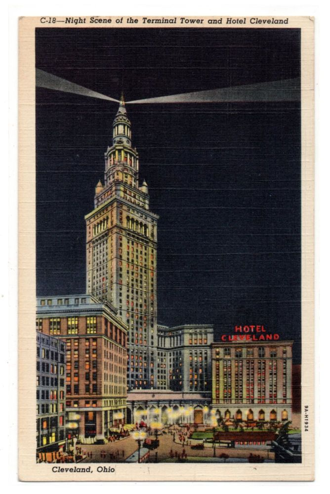 Night Scene Terminal Tower and Hotel Cleveland Ohio vintage linen postcard 1945