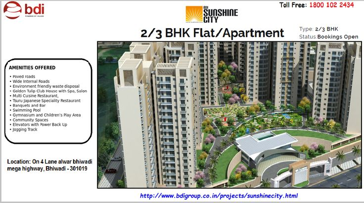 BDI Group offer BDI Sunshine City at Alwar Bhiwadi Mega Highway, Bhiwadi that includes 2/3 bhk flats, luxury residential apartments on affordable prices. So book NOW!