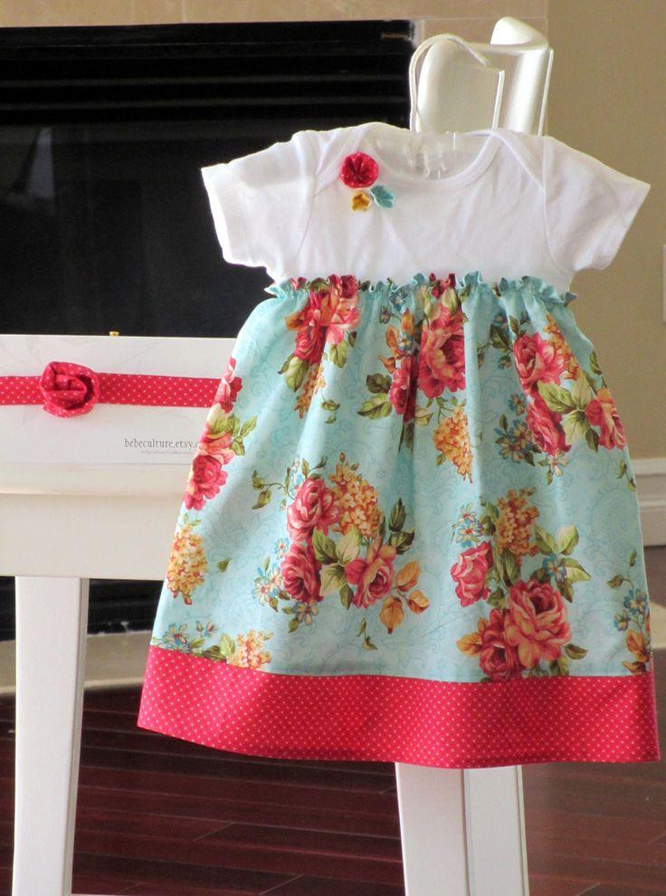 Shabby chic dress.  Teal baby onesie dress. Baby gift. Onesie dress with retro rose floral print.  Newborn - 24months. $35.00, via Etsy.