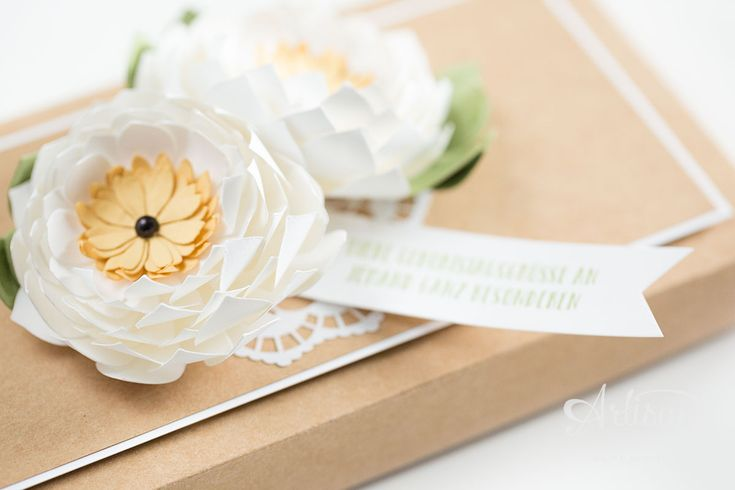 A pack in effect with white flowers, from the Framelits succulents of Stampin 'Up!  were punched