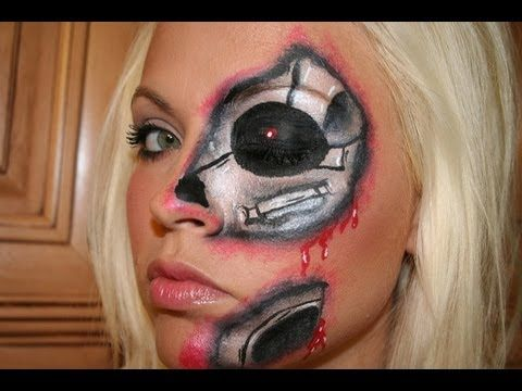 Very cool cyborg face paint. Could use it with almost any clothing.