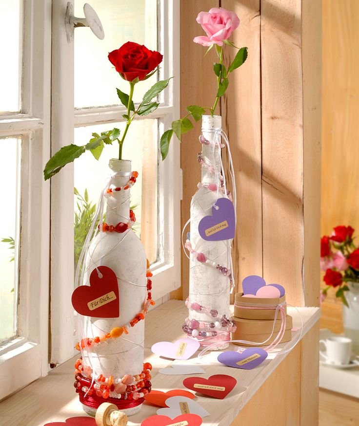 """Flaschen und Vasen mit Glasperlen veredeln (Idee mit Anleitung – Klick auf """"Besuchen""""!) -"""