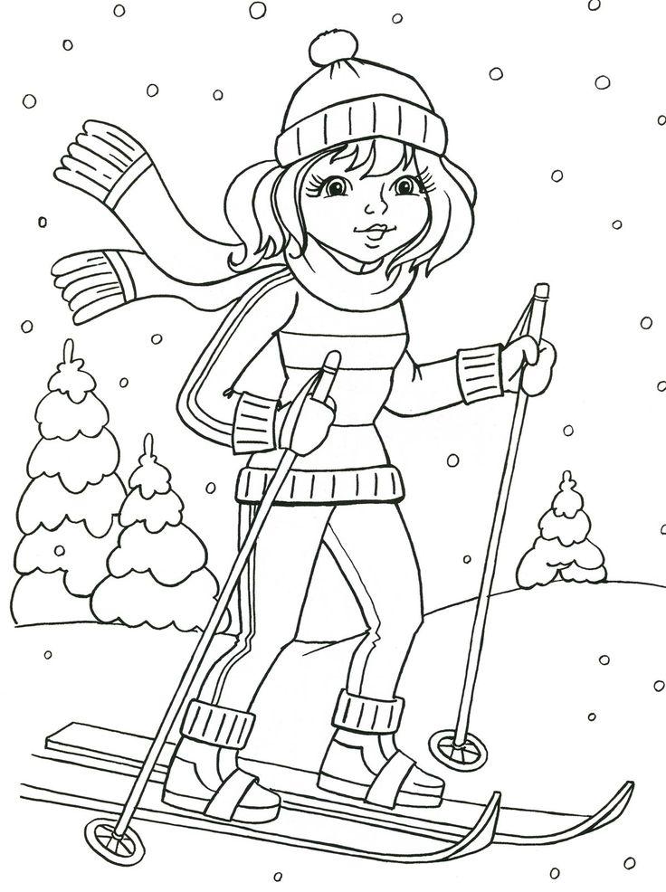 Рисунок ребенок на лыжах