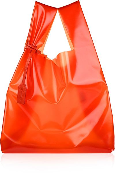 @Raf Simon's neon orange bag, so forward thinking, the lines, the material, #recycling in High end fashion
