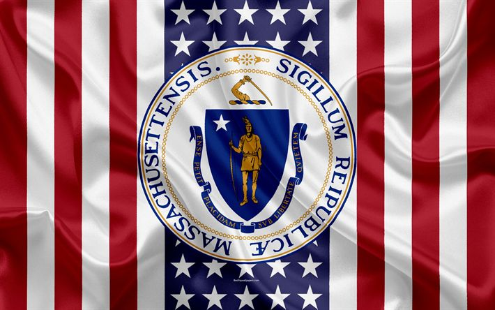 Download wallpapers Massachusetts, USA, 4k, American state, Seal of Massachusetts, silk texture, US states, emblem, states seal, American flag