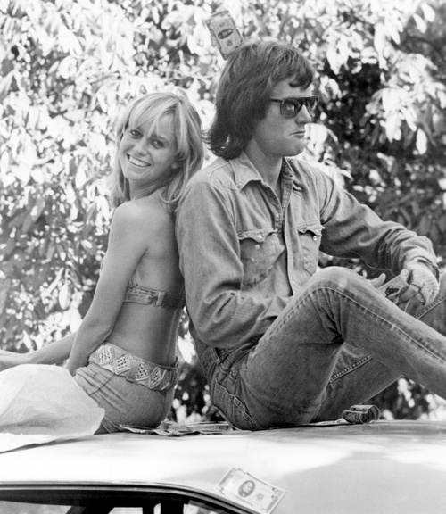 """Actors Peter Fonda and Susan George on the set of the 1974 film """"Dirty Mary, Crazy Larry"""""""