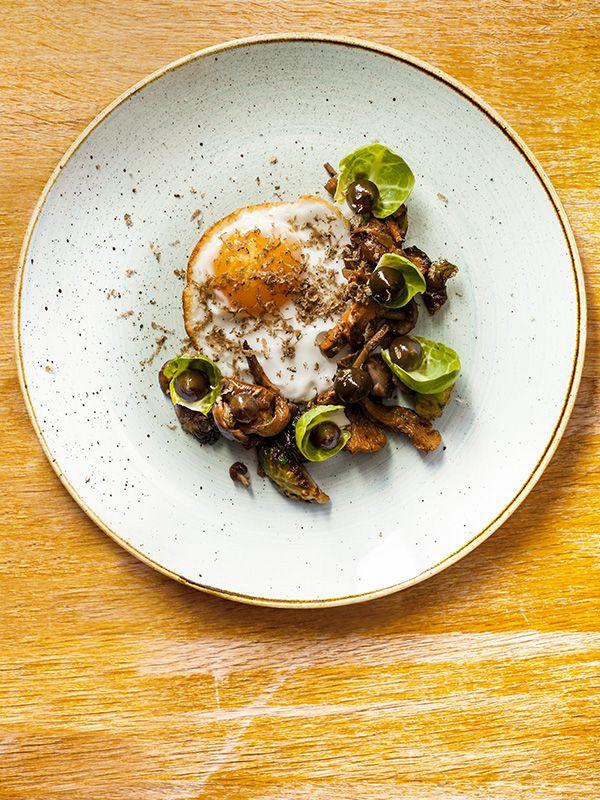 Wild mushrooms, fried duck egg, brussels sprouts, walnut & truffle