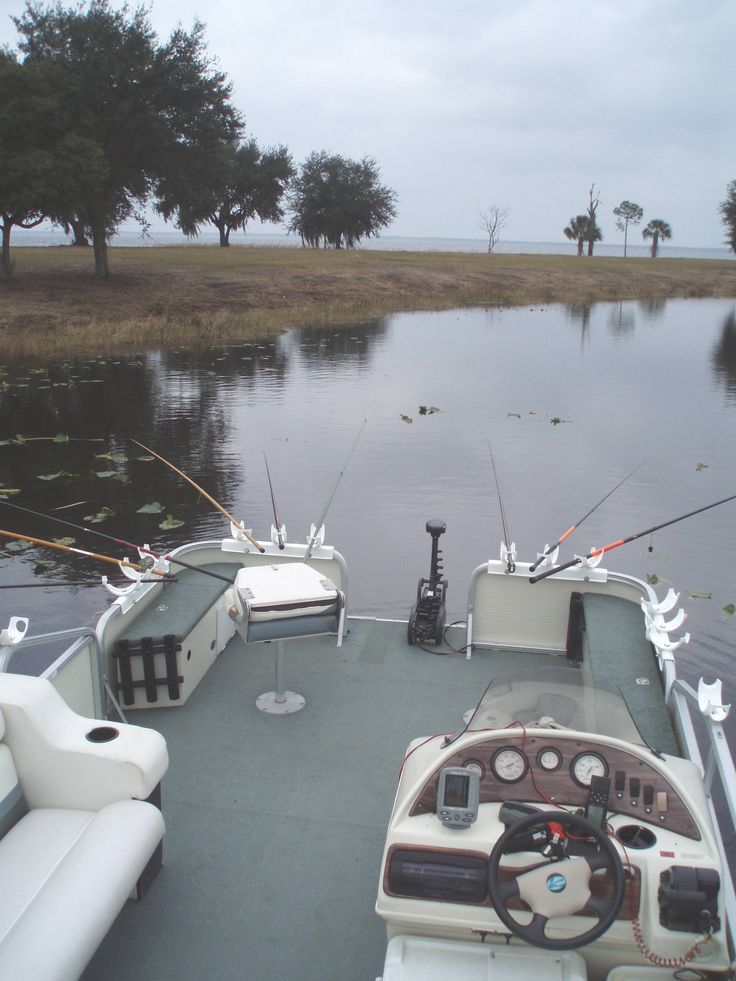 Example of how to use our fishing rod holders on a pontoon boat.