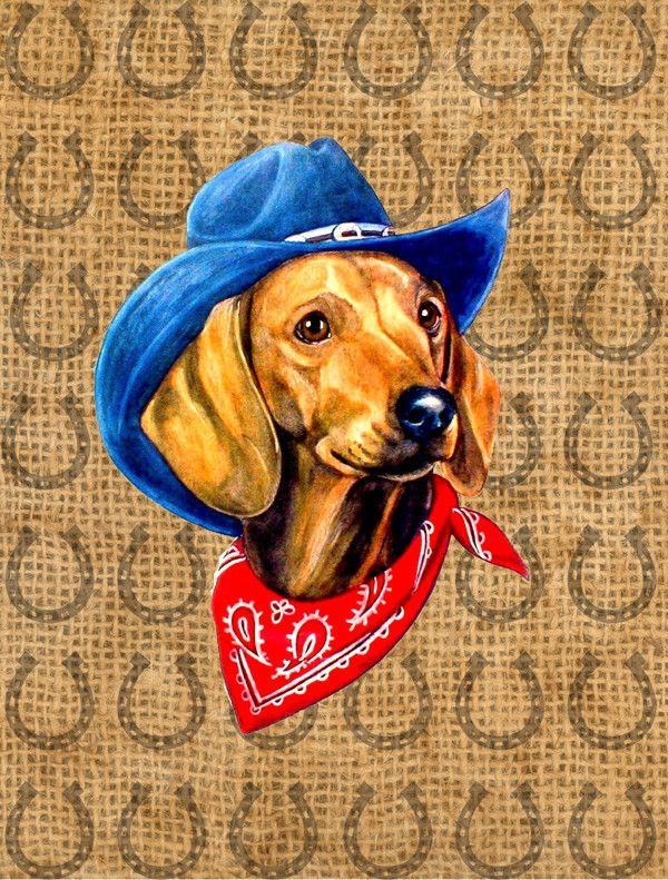 Dachshund Red Dog Country Lucky Horseshoe 2 Sided Garden Flag