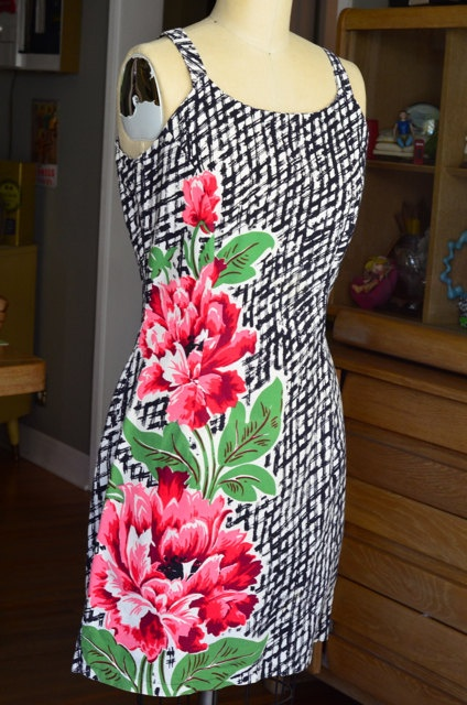 I made this one from vintage fabric in a contemporary sheath style. I love this dress!
