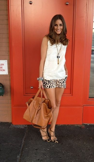 Olivia Palermo at New York Fashion Week 2012: leoperd short shorts, white top and equally leoperdly shoes from Valentino
