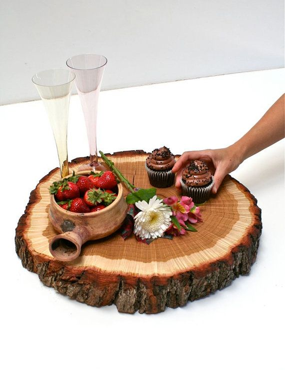What a fabulous piece!!    XL Tree Slice Centerpiece by realwoodworks1 on Etsy, $135.00: