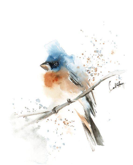 Blue Bird Watercolor Painting Original Watercolor Painting Bird