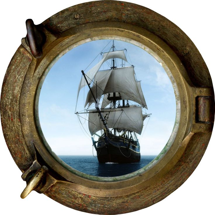 Huge 3d Porthole Pirate Schooner Ship View Wall Stickers