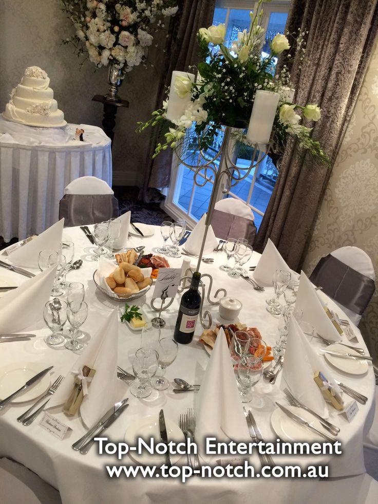 A table arrangements at Ballara Receptions, Eltham, Victoria.  www.top-notch.com.au  www.facebook.com/WeddingDJTopNotch