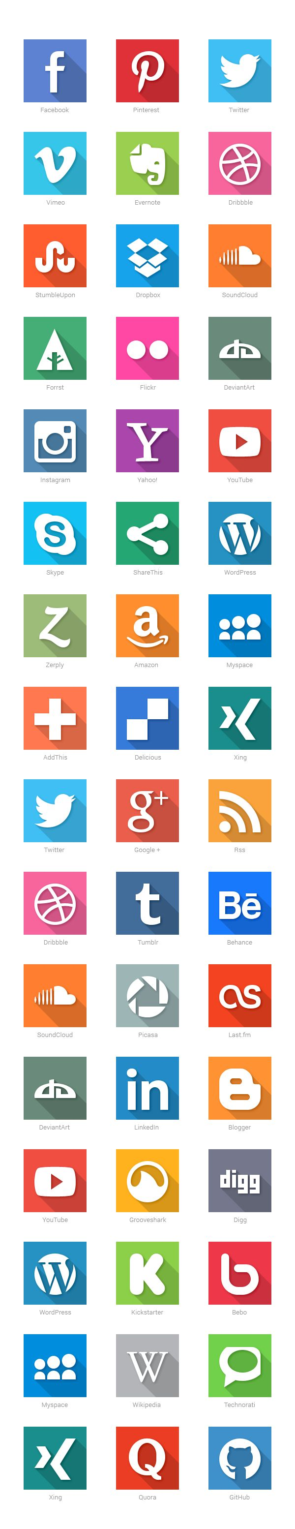 40 Social Media Flat Icons by GraphicBurger , via Behance PD