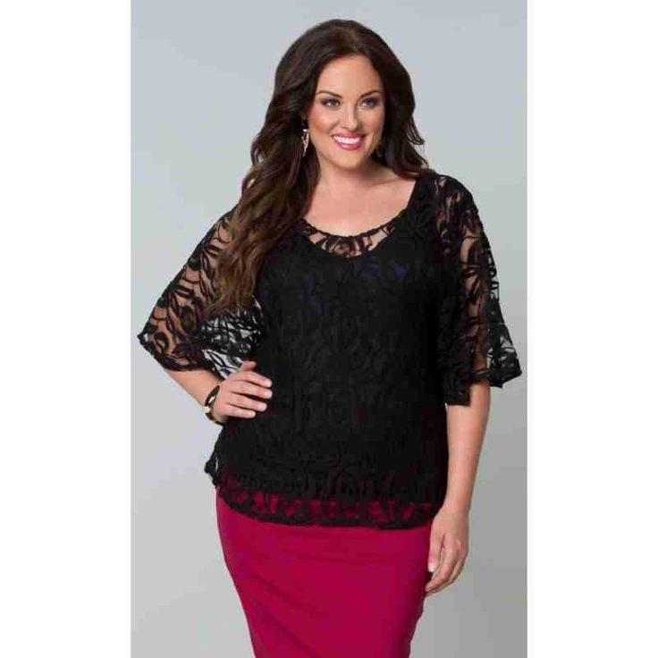 PRE-ORDER - Ethereal Lace Blouse (Onyx) $111.00 http://www.curvyclothing.com.au/index.php?route=product/product&path=95_103&product_id=8244