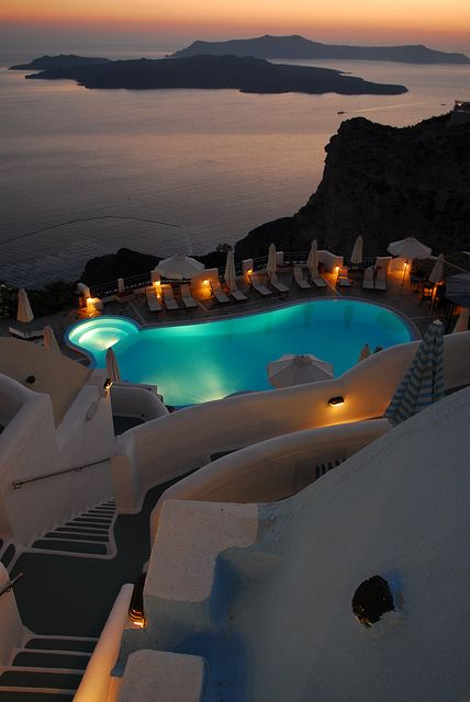 Santorini Hotel. Amazing view over the volcane. Best Hotels in the World. Luxury Hotels. Beautiful balcony design. For more decor inspirations: http://designlimitededition.com/