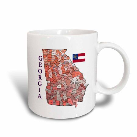 3dRose Colorful map and flag of Georgia with all counties identified, Ceramic Mug, 11-ounce