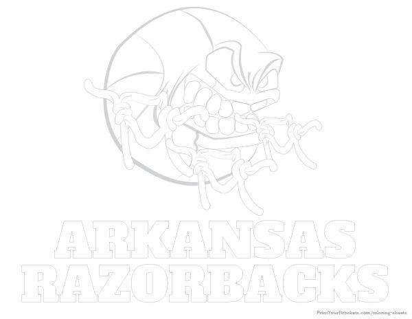 Arkansas Razorbacks Basketball Coloring Sheet Printable