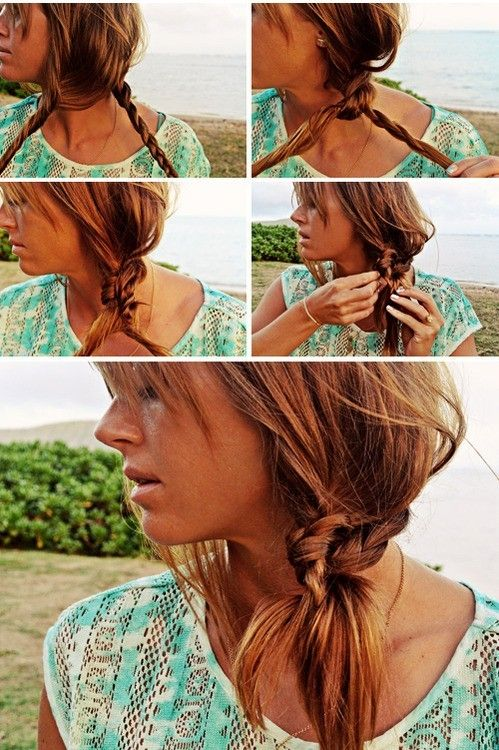 Beach Hairstyle Ideas: Knotted Braid Side Ponytail Hairstyle Tutorial - PoPular Haircuts