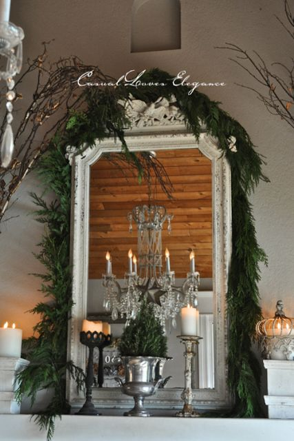 Casual Loves Elegance -Our Dining room mantle.