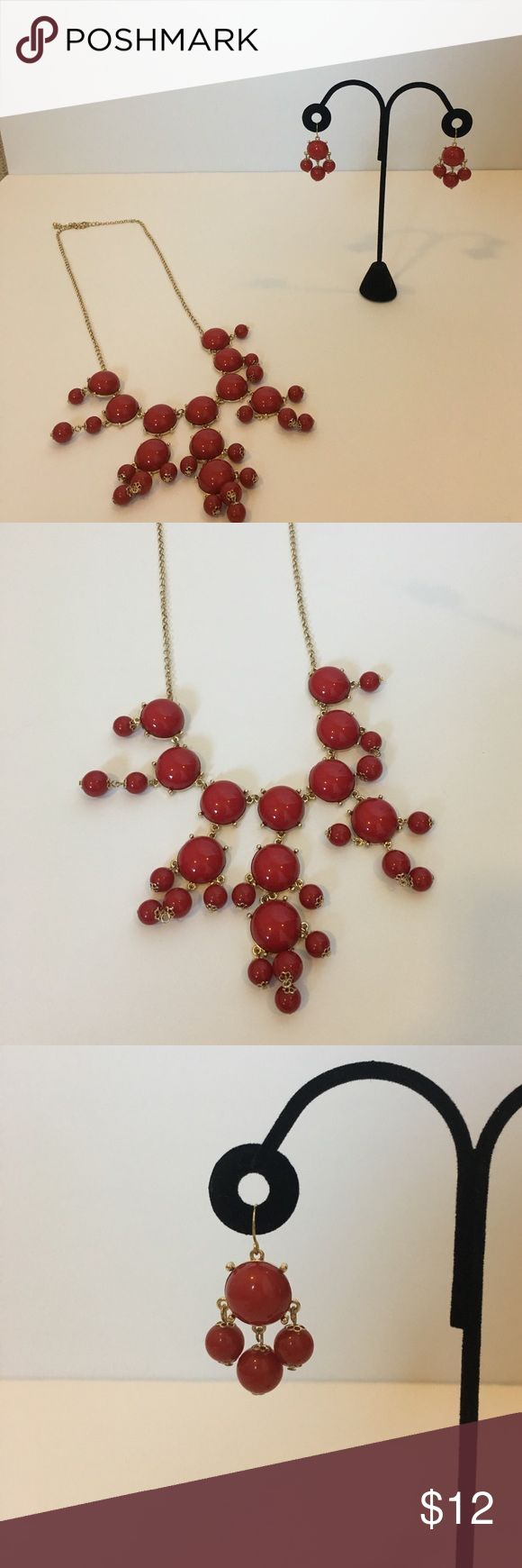 """Red Bubble Necklace & Earring Set Just in time for Valentine's Day!! Red bubble statement necklace with earrings. Gold adjustable chain.  On longest hook from top to bottom is approximately 16"""".  Worn once. Jewelry"""