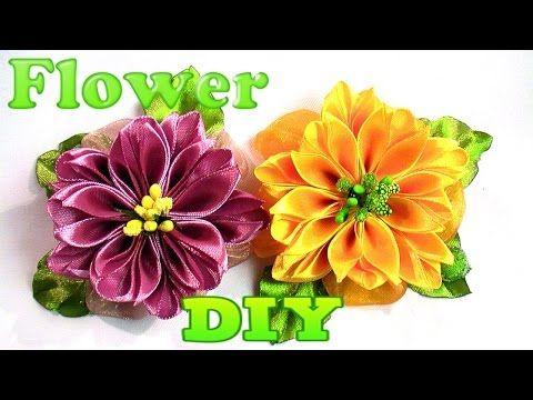 How to Make New Kanzashi Flowers, DIY Ribbon Flowers Tutorial / Цветы Канзаши из Ленты 5 см - YouTube