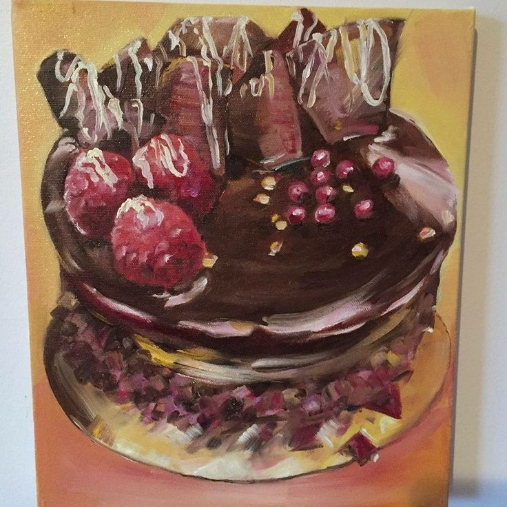 Chocolate cake. Oil painting. Art
