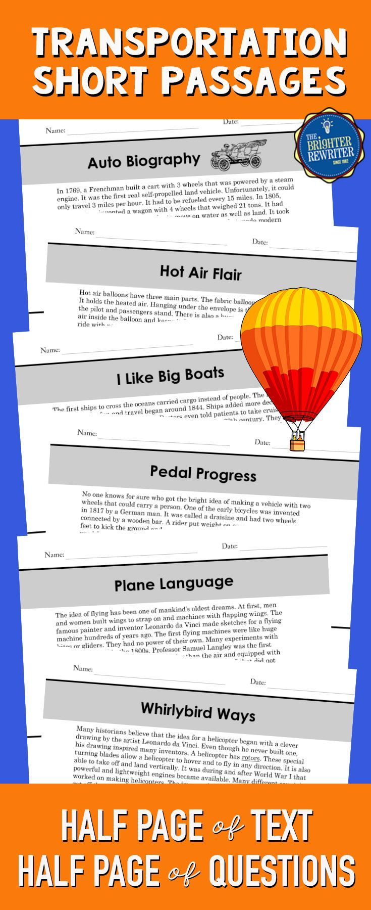 6 transportation nonfiction mini-passages with a paragraph of informational text and 4 multiple-choice comprehension questions on one page. The topics include airplanes, bicycles, cars, cruise ships, helicopters, and hot air balloons.