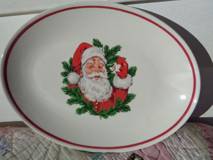"Vintage Homer Laughlin Best China Center Transfer Christmas Santa Red Trim  11""  #HomerLaughlinBestChina"