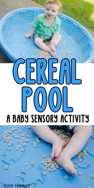 Cereal Pool – Baby Sensory Bin; what an easy baby activity! A great quick and easy activity for baby!