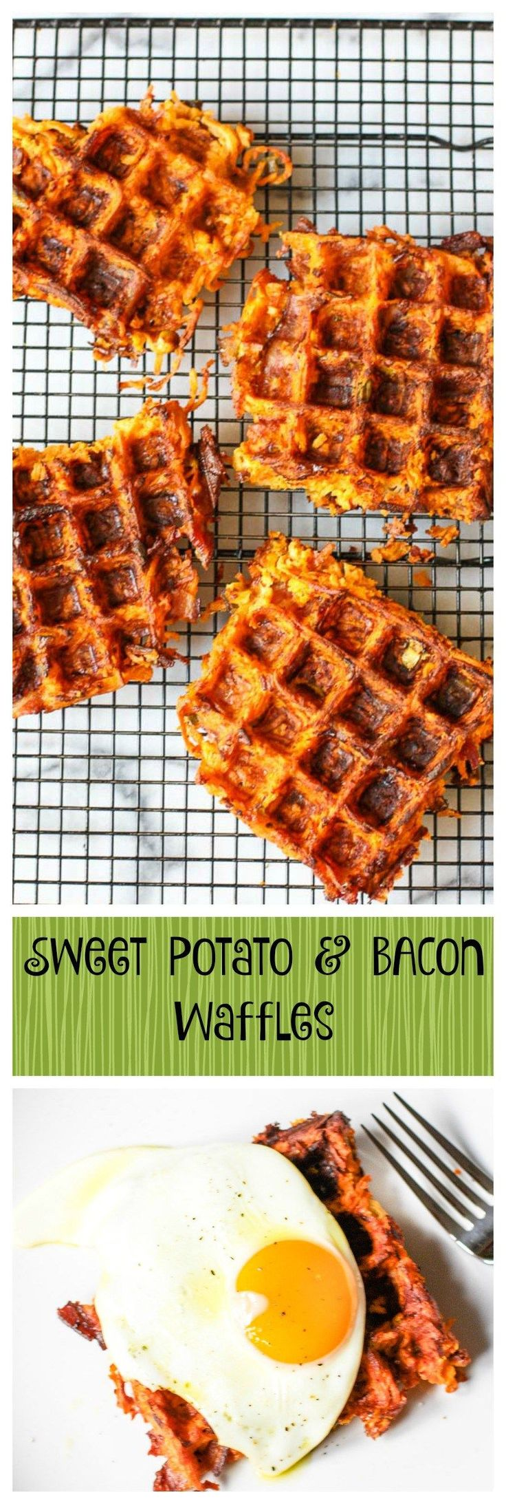 Sweet Potato Bacon Waffles. These are like an awesome sweet potato hash in waffle form... this recipe will help your digestion and make you smile... so good and so healthy!