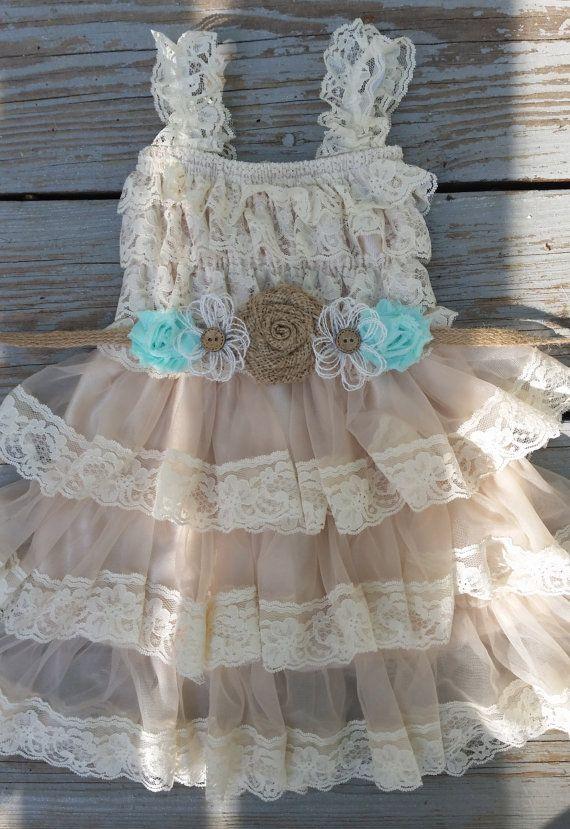 Lace Flower Girl Dress-Mint Flower Girl-Champagne Flower Girl/Country Flower Girl-Burlap Sash-Mint Wedding-Country Chic Flower Girl-Wedding