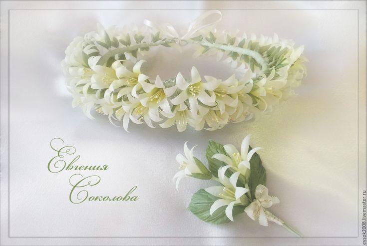 Купить Венок и бутоньерка Белые колокольчики - белый, белые колокольчики, весенние цветы, цветы из шелка