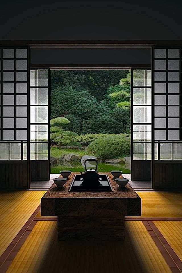 Japanese room, Washitsu 和室 - One of the principles of Japanese gardens is to frame the view from the house