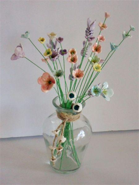 Ceramic wild flowers, 10 teeny tiny flower stems