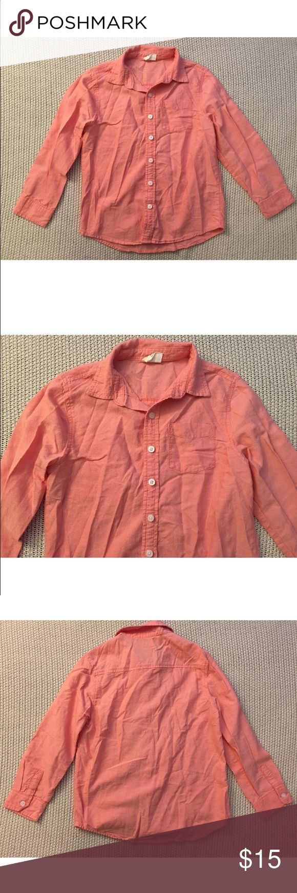 Crazy 8 Coral Shirt M (7-8) New. Coral button down shirt  100% cotton  M (7-8) Measured across: Shoulder to shoulder 13in (33cm) Armpit to armpit 16in (40.5cm) Waist 16in (40.5cm) Sleeve length 18.5in (47cm) Length 23in (58.5cm) crazy 8 Shirts & Tops Button Down Shirts