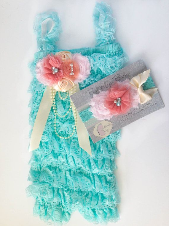 Aqua & Coral SET Petti Romper and Headband -  Baby Girls Smash Cake Outfit  - Aqua, Coral, Cream, Peach, Baby Pink - First Birthday Outfit on Etsy, $35.00