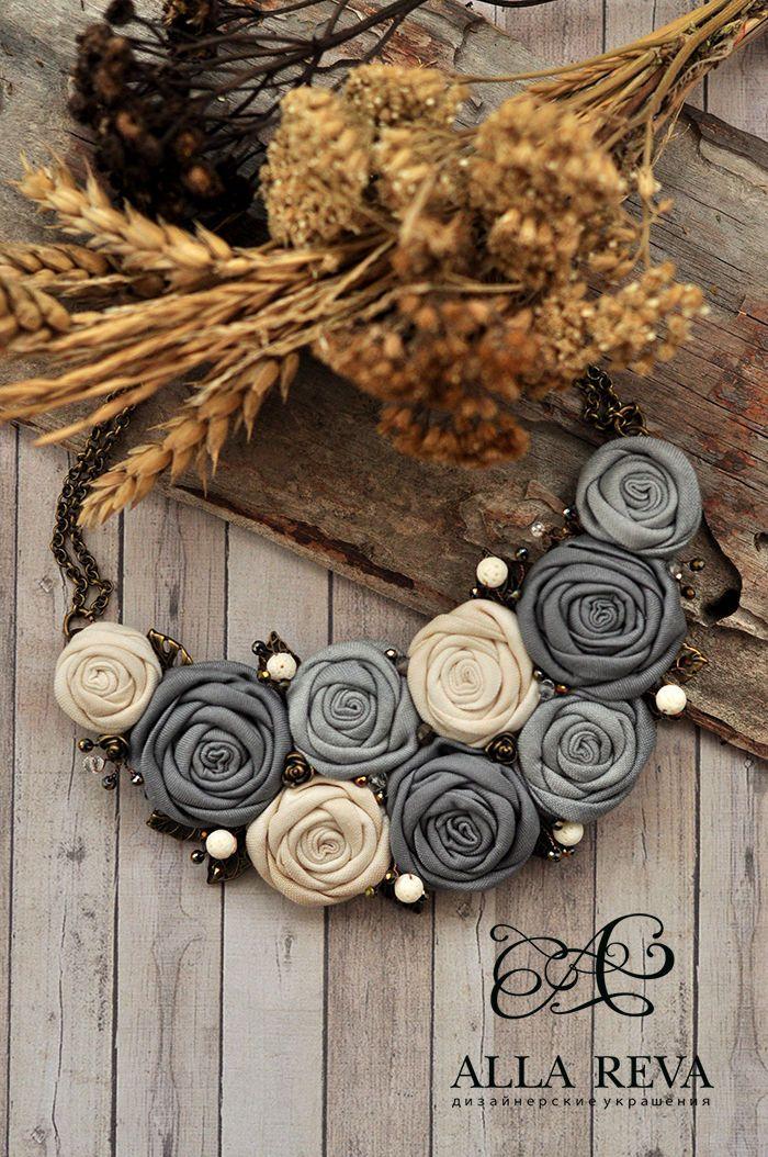 """Купить Колье """"Vintage grey"""" - серый, колье, колье из ткани, цветочное колье, цветы из ткани"""