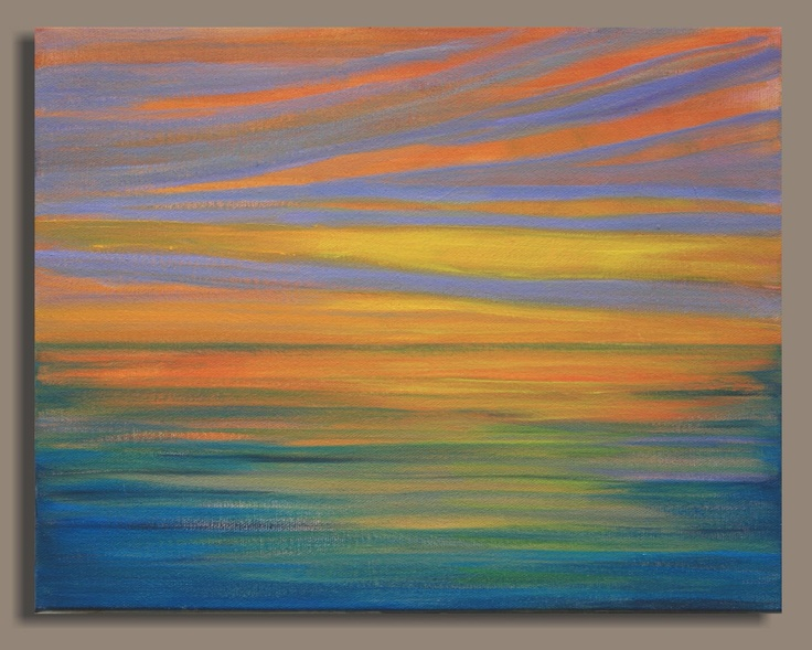 Abstract Sunset Painting - Sunset Bay (11x 14) Original Acrylic Wall Decor - Sage Mountain Studio. $89.00, via Etsy.