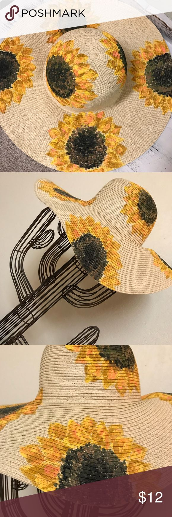 HANDPAINTED YELLOW SUNFLOWER SUNHAT Originally purchased from Forever 21 - NWT HANDPAINTED sunflowers  Size S/M Forever 21 Accessories Hats