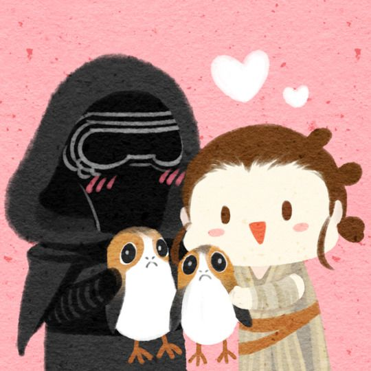 Star Wars Kylo Ren and Rey with porgs