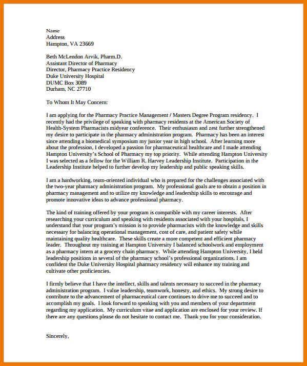 Letter Of Intent For Graduate School University Document