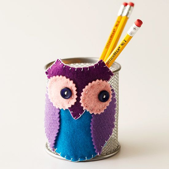 Take office supplies from drab to fab. Simple felt shapes and stitches combine to make an adorable pencil holder.