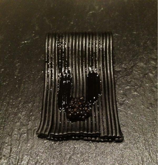 black spaghetti with caviar by Davide Scabin