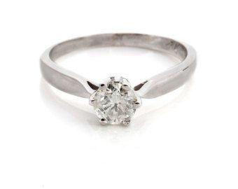 Solitario de cubic Zirconia anillo - 14k oro blanco anillo Cubic Zirconia anillo-anillo de piedras preciosas-anillo de promesa-presente de aniversario-su - Cubic zirconia