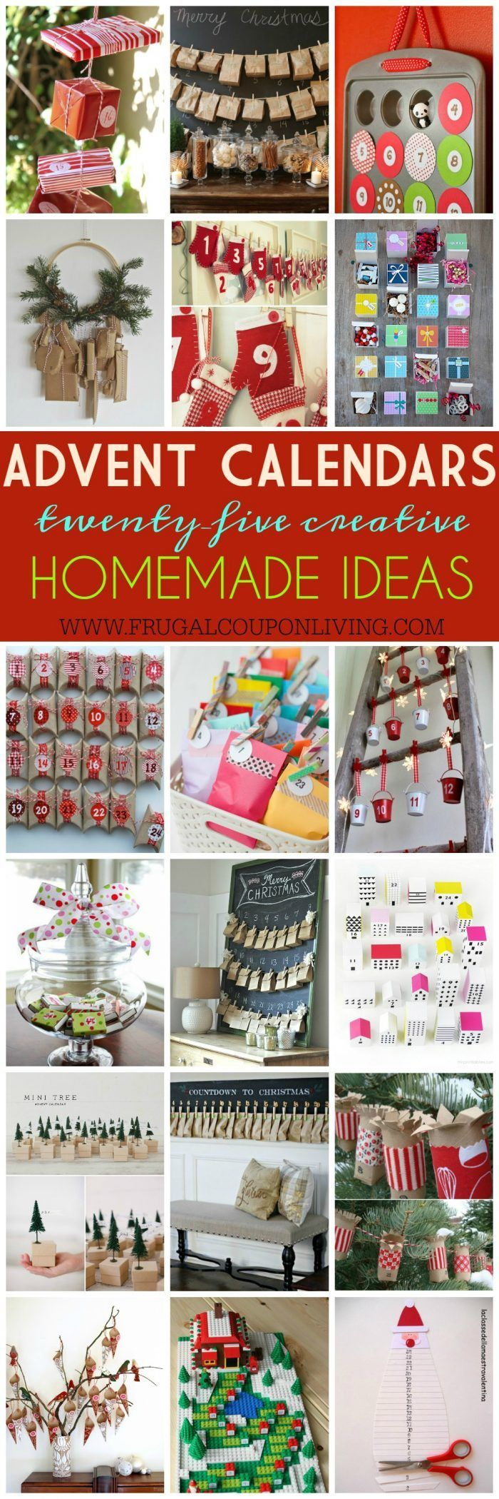 25 Homemade Advent Calendars on Frugal Coupon Living plus ideas for your Christmas Cookie Exchange and Homemade DIY Christmas Gift Ideas.