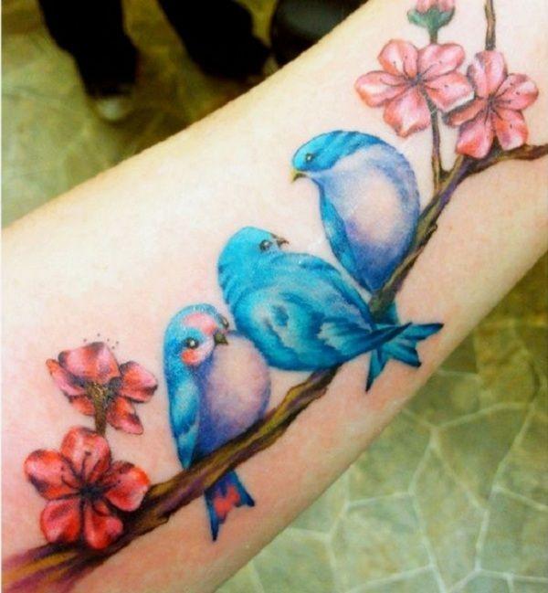 3 blue birds - Cute 3 little blue birds, just like the song. #TattooModels #tattoo